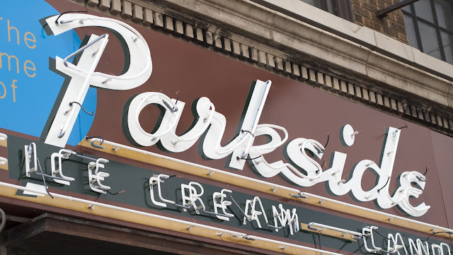 Parkside Candy sign in Buffalo, New York