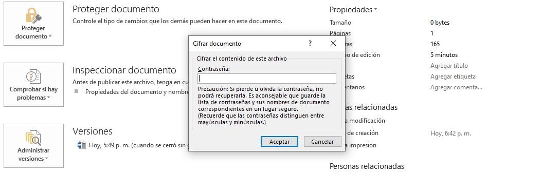 Cifrar con contraseña en Microsoft Word