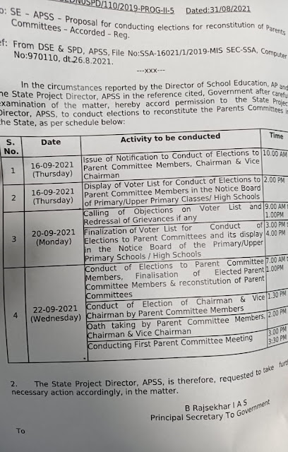 PROPOSAL FOR CONDUCTING ELECTIONS FOR RECONSTITUTION OF PARENT COMMITTEES- ELECTION SCHEDULE