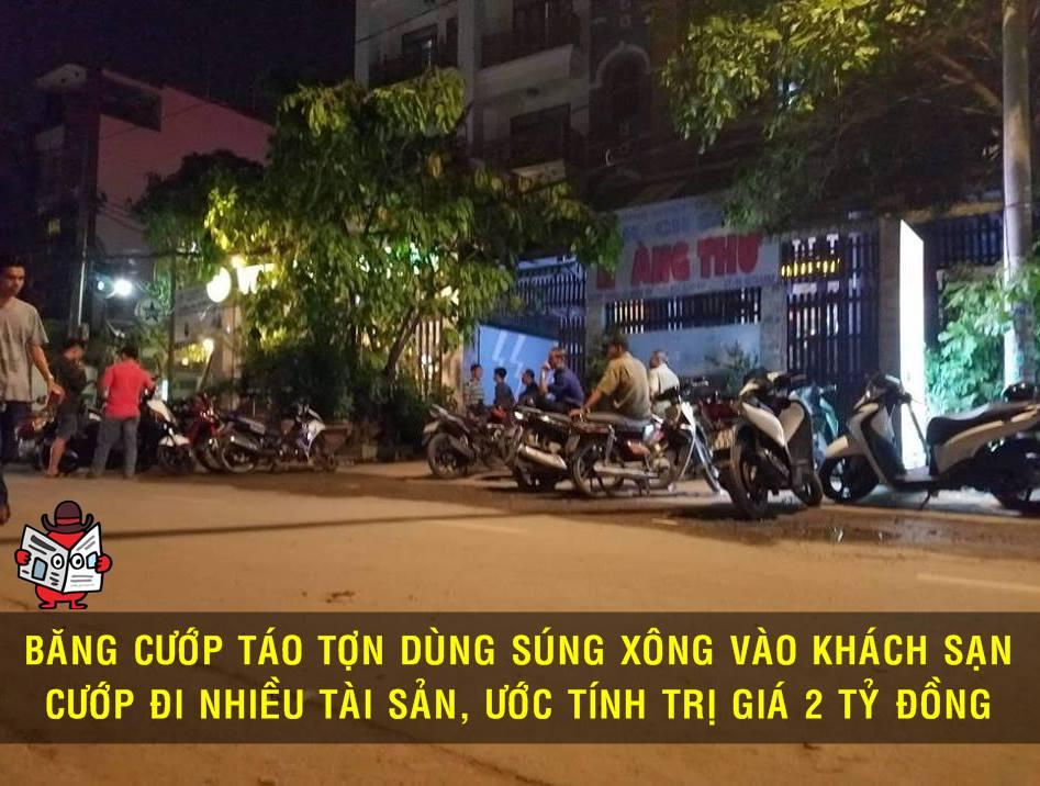 Băng cướp có vũ khí tổ chức cướp giật tại 1 khách sạn ở gò vấp (TP.HCM)