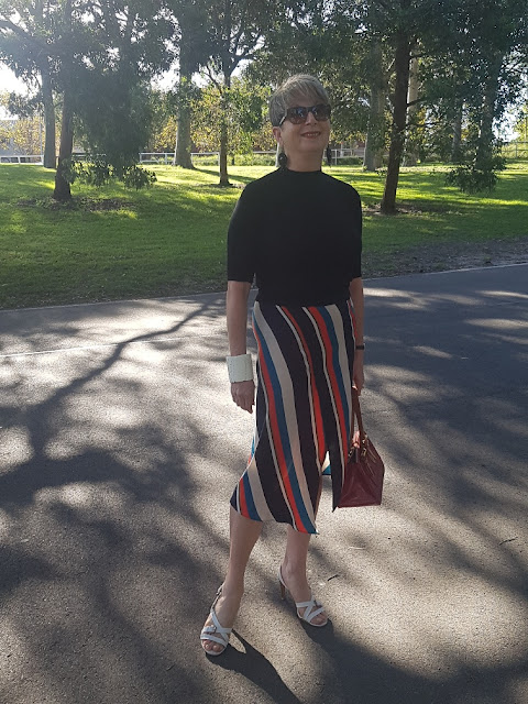 MY NEW MAXI SKIRT IN BOLD STRIPES