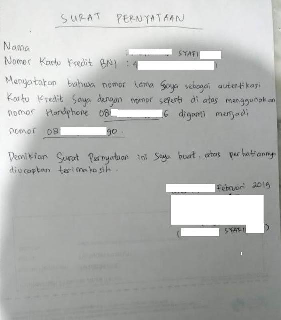 Surat Pernyataan ganti Nomor HP Kartu Kredit BNI
