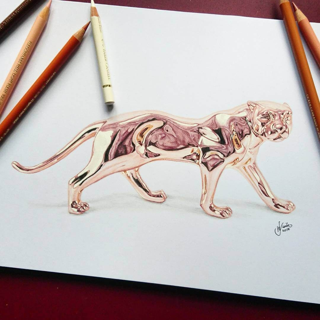 04-Rose-Gold-Panther-J-Wuiz-Animals-and-Food-Art-Pencil-Drawings-www-designstack-co