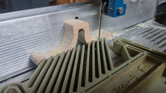 Shopsmith Band Saw with Carter Guide and 1/8 inch blade set up to resaw fenders.