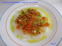 Carpaccio de merluza y vinagreta de verduritas en crudites