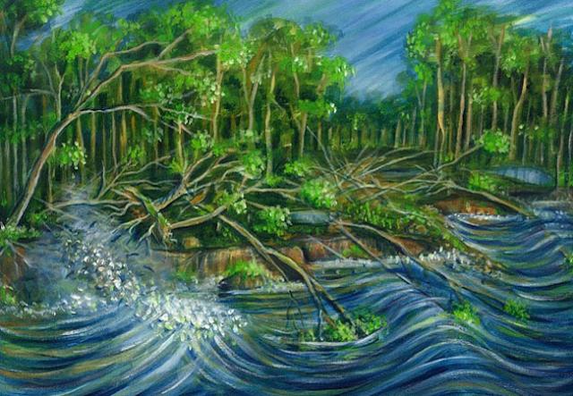A imagem mostra uma pintura a óleo. Na cena, mostra um rio de cor azul revolto e ao lado árvores caindo dentro da água. As árvores são verdes e os troncos marrons.