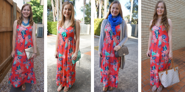 4 ways to wear floral tiered maxi dress picking colours out of the print for accessories awayfromtheblue