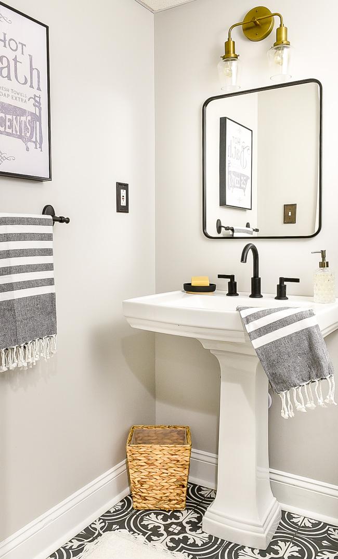 Mixed metals vintage modern bathroom decor