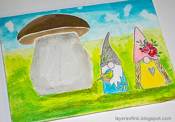 Layers of ink - Gnome Home Mixed Media Canvas Tutorial by Anna-Karin Evaldsson. Paint the gnomes.