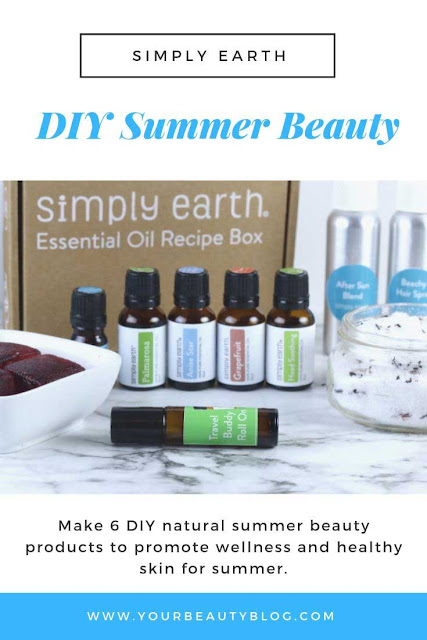 Are you looking for DIY summer beauty ideas?  Get 6 easy natural DIY beauty recipes that you can make at home. These simple recipes are for hair, for body, and for skin.  Have fun making these recipes with essential oils. DIY skincare for after sun. Learn tips and hacks to make your own DIY natural beauty products.  #diy #natural #skincare #essentialoils