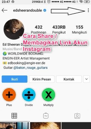 Cara Share / Membagikan Link Akun Instagram