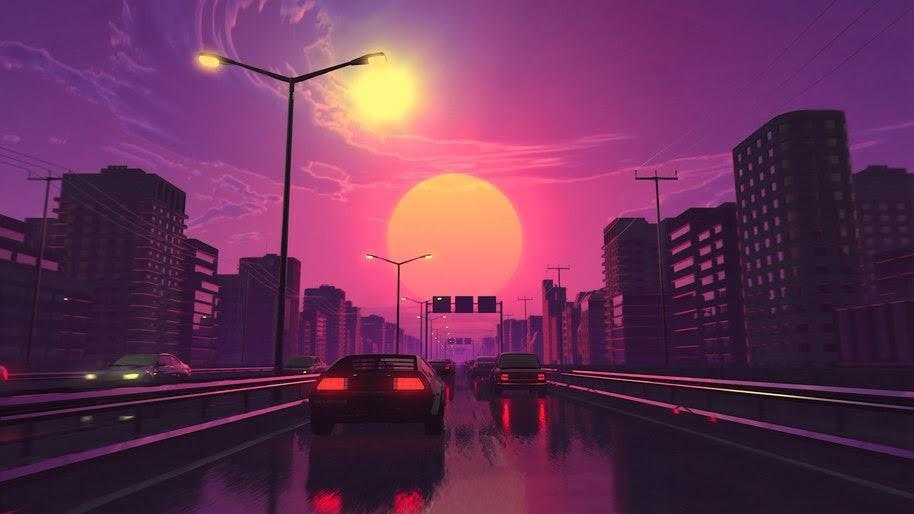 Neon City Car Retrowave Synthwave Digital Art 4k Wallpaper 91
