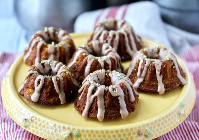 Spiced Pumpkin and Apple Mini Bundt Cakes