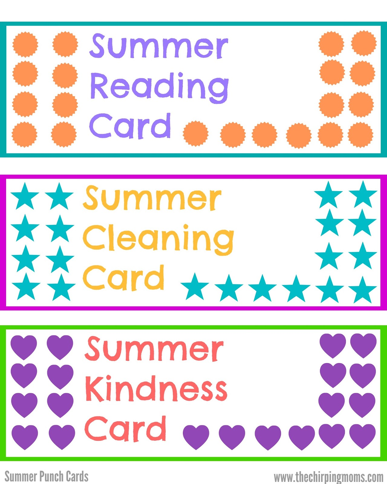summer punch cards for kids with free printables. Black Bedroom Furniture Sets. Home Design Ideas