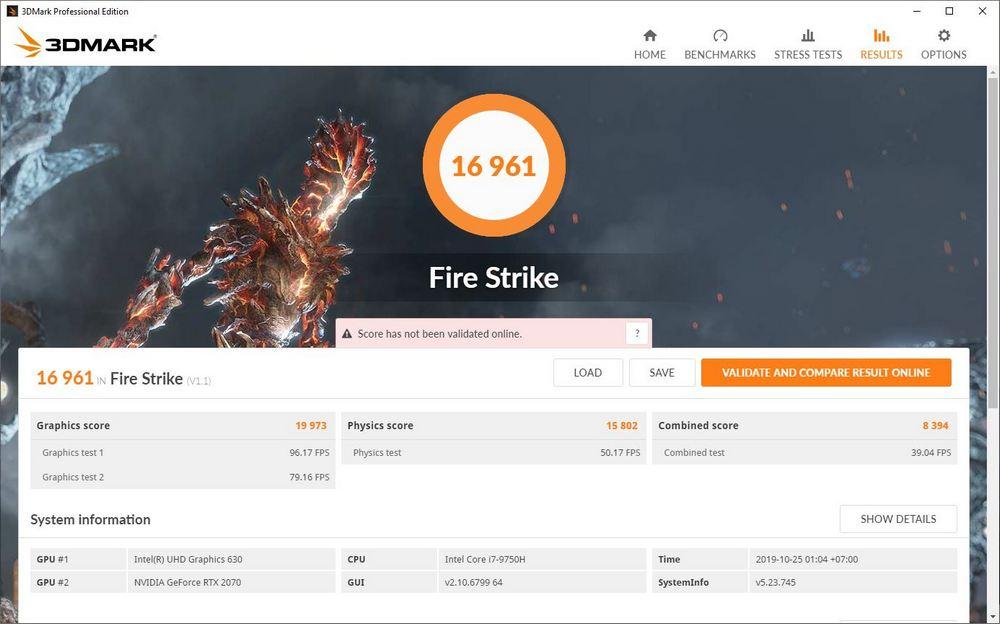 Benchmark 3DMark Fire Strike Asus ROG Zephyrus S GX502GW