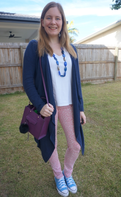 pink leopard print jeans with navy cardigan, white tee and plum purple mini MAB tote bag | awayfromblue