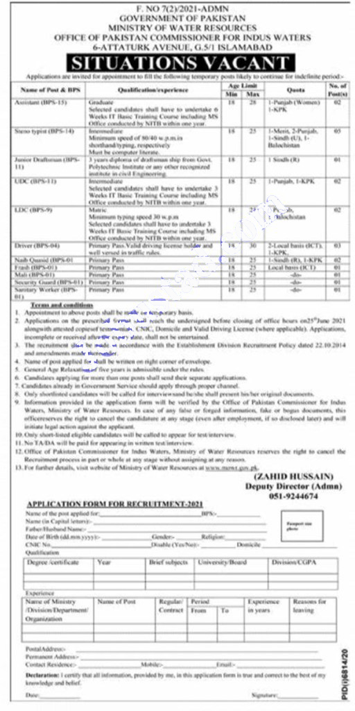 Ministry of Water Resources jobs 2021 Latest Advertisement