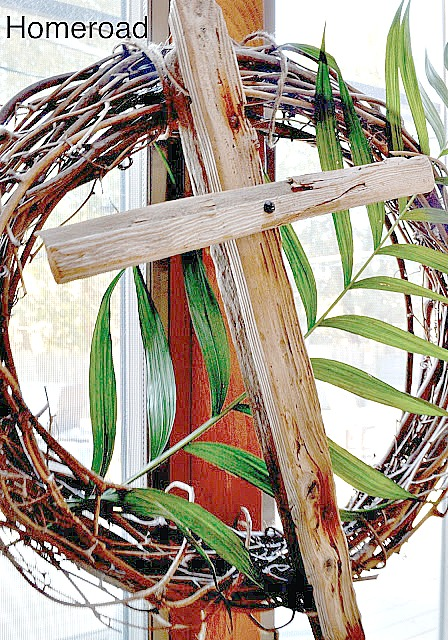 Easter wreath with driftwood cross
