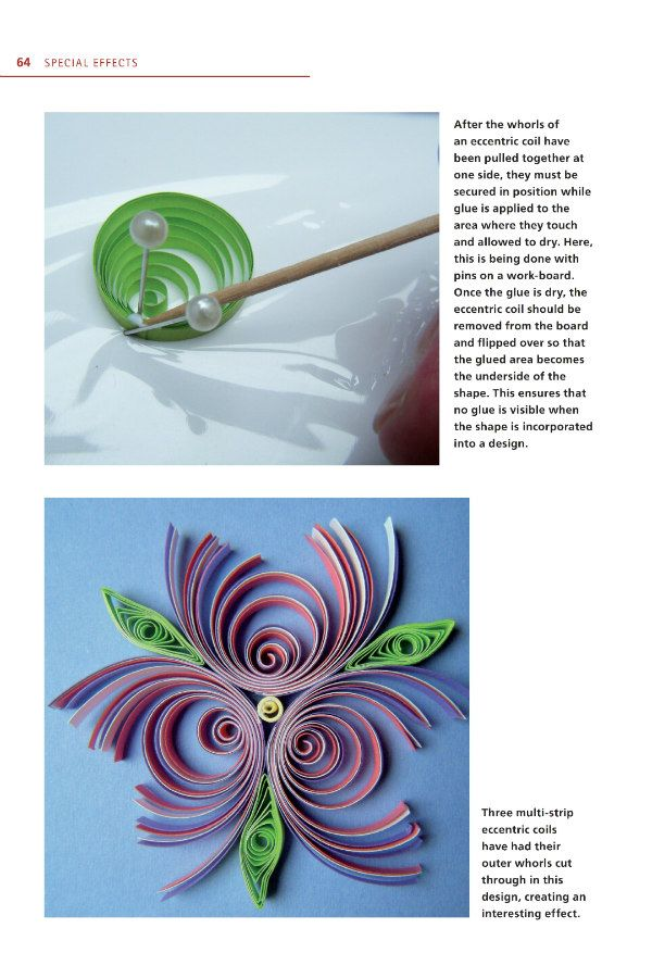 quilling book example page shows a swirled design and construction of an eccentric coil