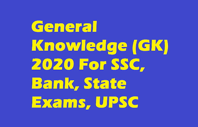 General Knowledge (GK) 2020 For SSC, Bank, State Exams, UPSC