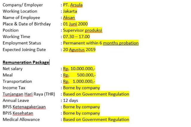 Surat perjanjian kerja karyawan permanen (offering letter)