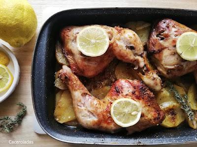 Pollo al horno con limón, tomillo y patatas