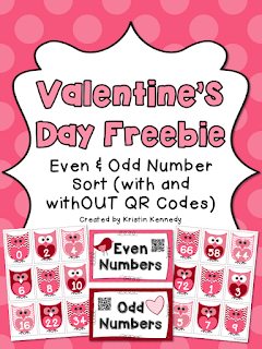 FREE Valentine's Day Even and Odd Number Sort Activity (With and withOUT QR Codes). Fun, hands on, and perfect for 1st and 2nd grade math centers and small groups.
