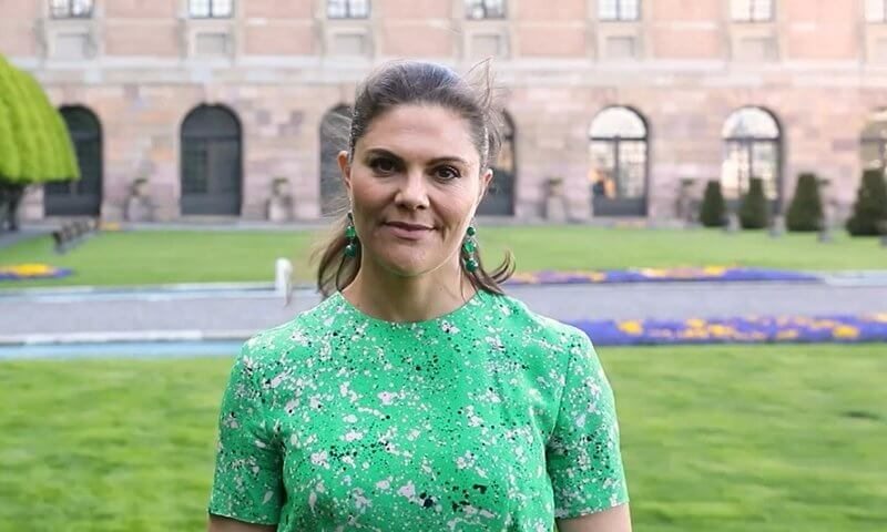Crown Princess Victoria wore a green floral print dress from Tiger of Sweden, and green earrings from Ebba Brahe Jeweller