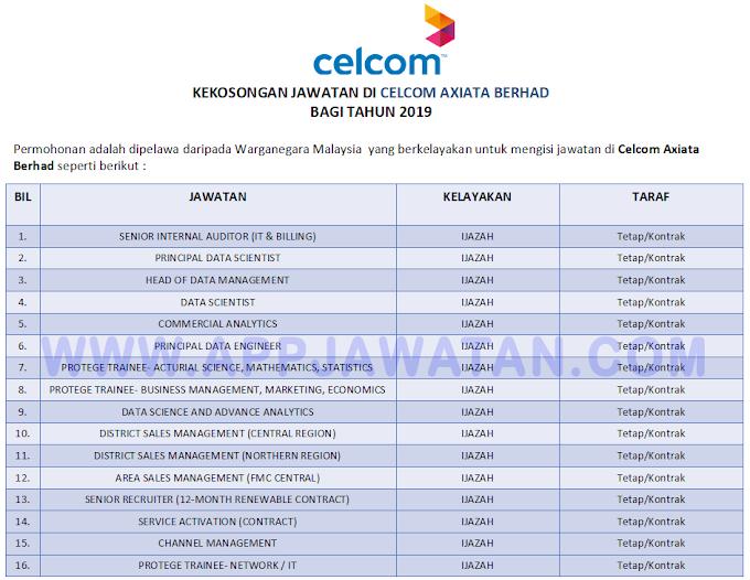 Jawatan Kosong Terkini di Celcom Axiata Berhad.
