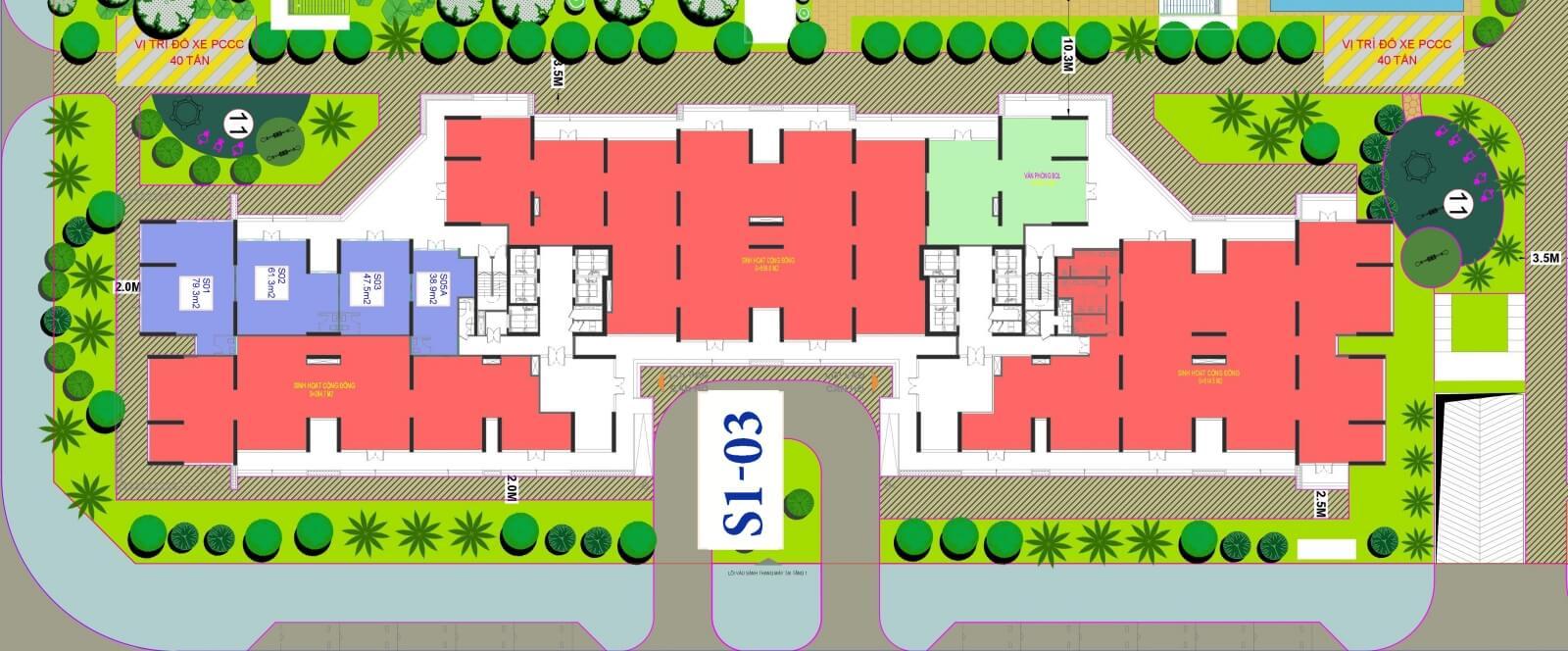 Mặt bằng toà S1 - 03 Shop Vinhomes Smart City Tây Mỗ