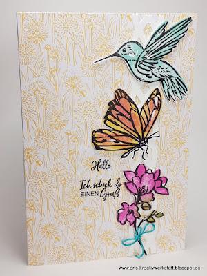 """Grußkarte """"Tintentraum"""" mit Kolibri, Schmetterling und Blümchen Stampin' Up! www.eris-kreativwerkstatt.blogspot.de"""