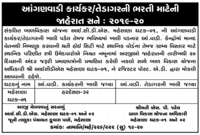 Mahesana Recruitment for Anganwadi Worker