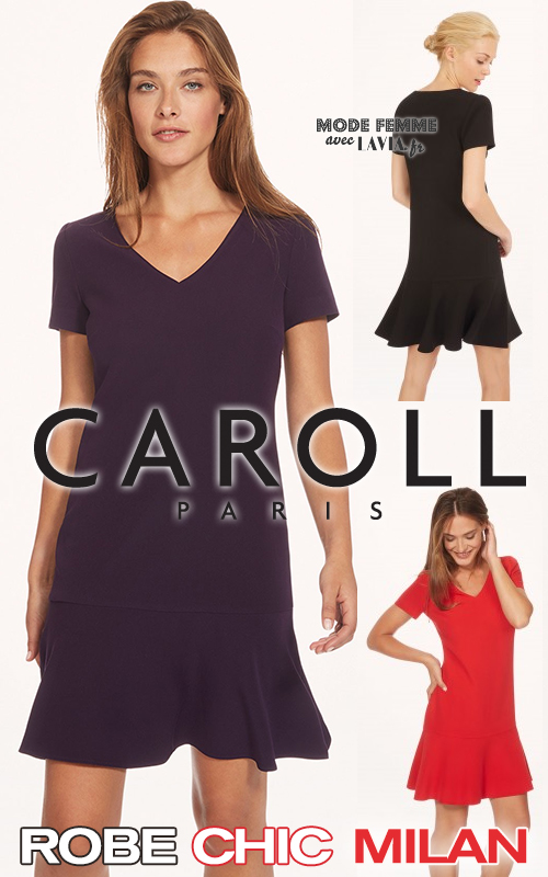Robe courte chic Milan noire, bleu marine ou rouge CAROLL
