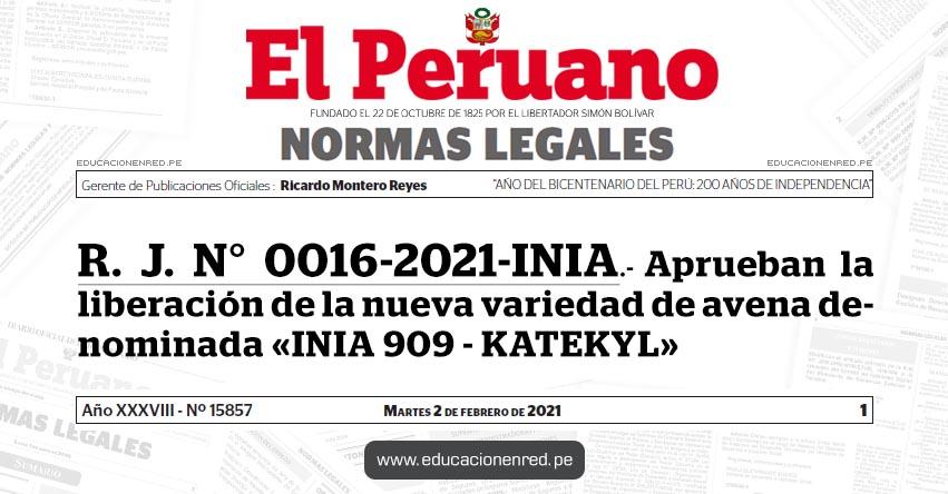 R. J. N° 0016-2021-INIA.- Aprueban la liberación de la nueva variedad de avena denominada «INIA 909 - KATEKYL»