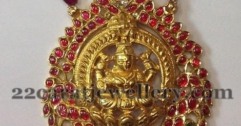 Heavy Lakshmi Devi Rubies Locket Jewellery Designs