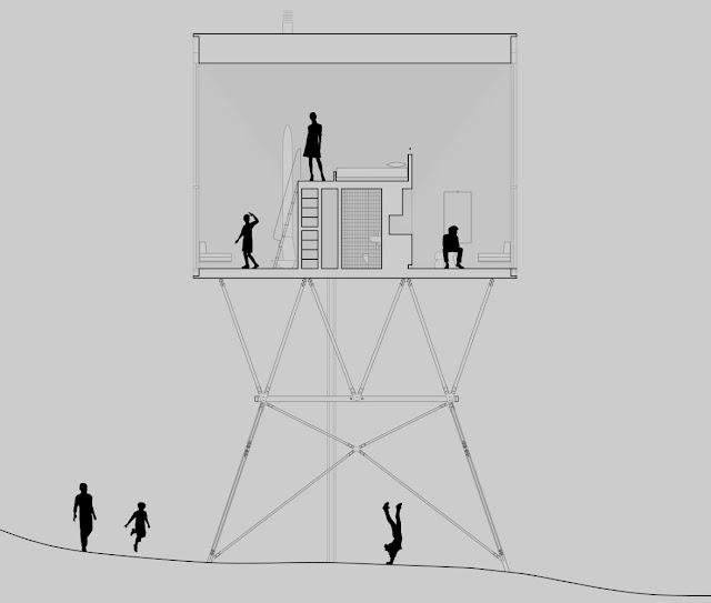 plano arquitectónico de la cabaña distibución interior desde vista exterior