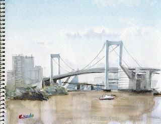 見本に描いた、レインボーブリッジ作例 水彩