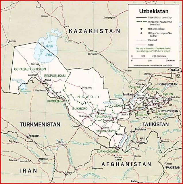 Gambar Peta politik Uzbekistan