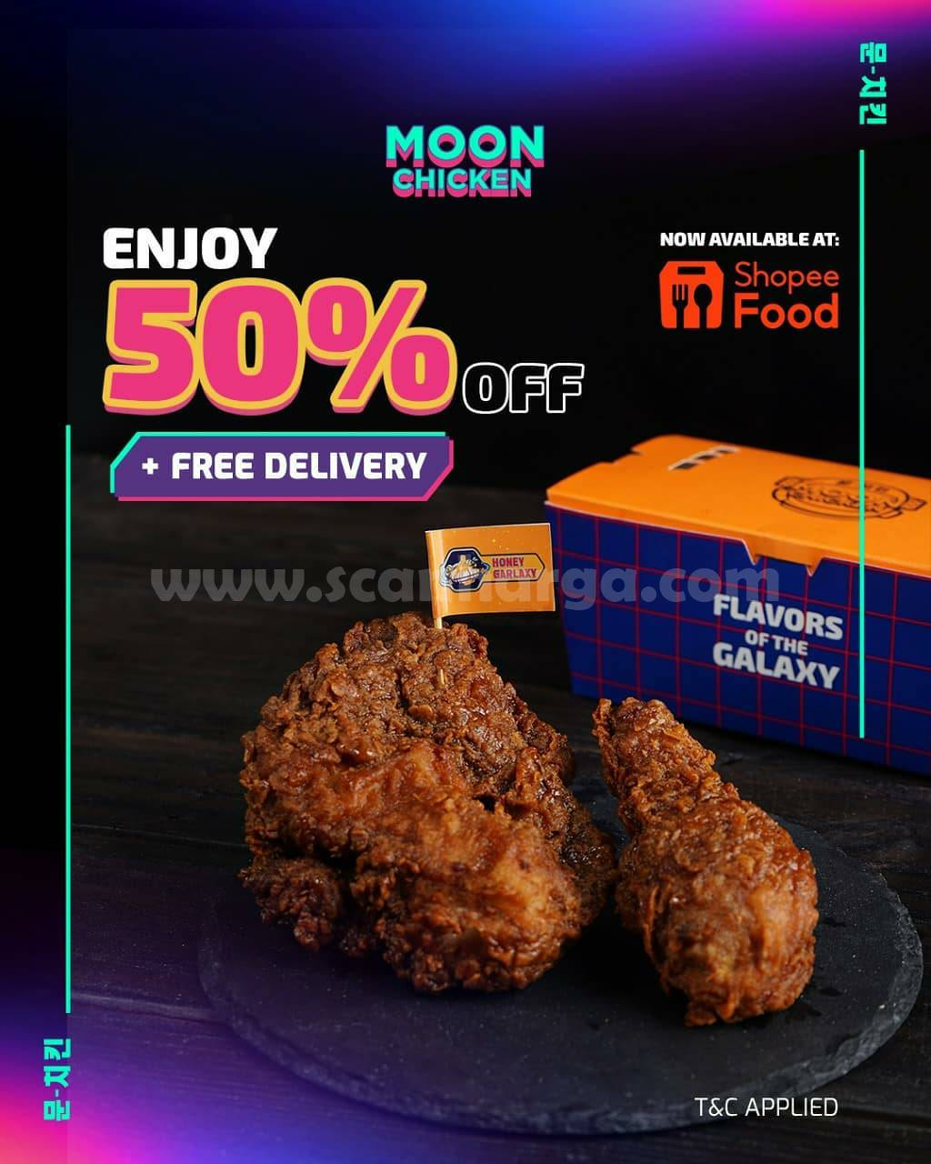 MOON CHICKEN Promo DISKON 50% + FREE DELIVERY on ShopeeFood