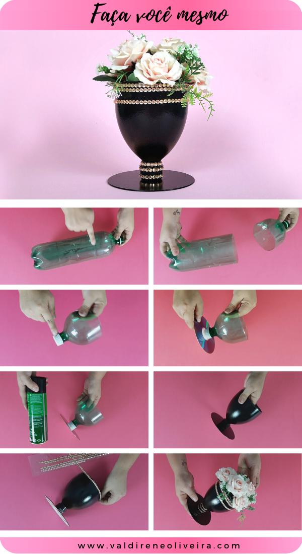 vaso de garrafa pet fácil de fazer