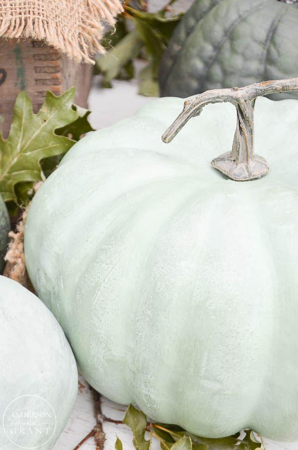 Realistic mint green chalk paint pumpkins  |  www.andersonandgrant.com