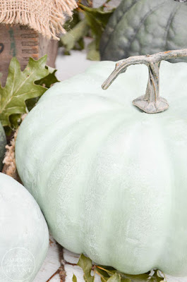 Green painted pumpkin