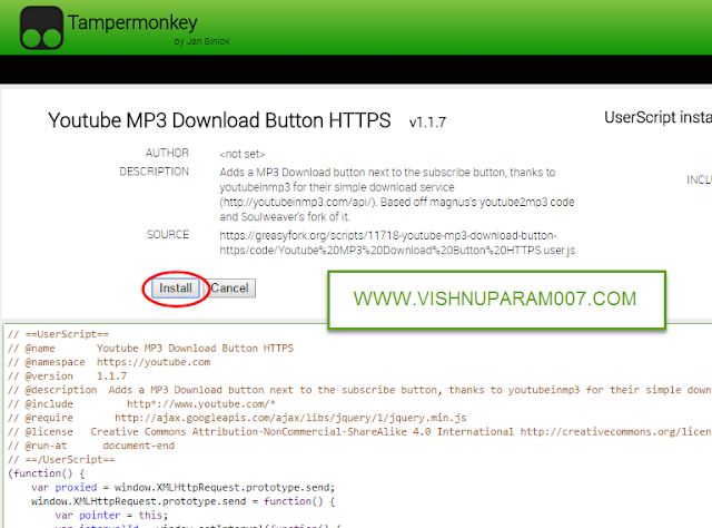Download Youtube Video As MP3 In One Click - vishnuparam007
