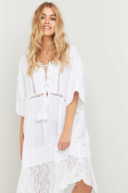 somedays loving nadin white dress, somedays lovin white lace up dress, white lace up midi dress,