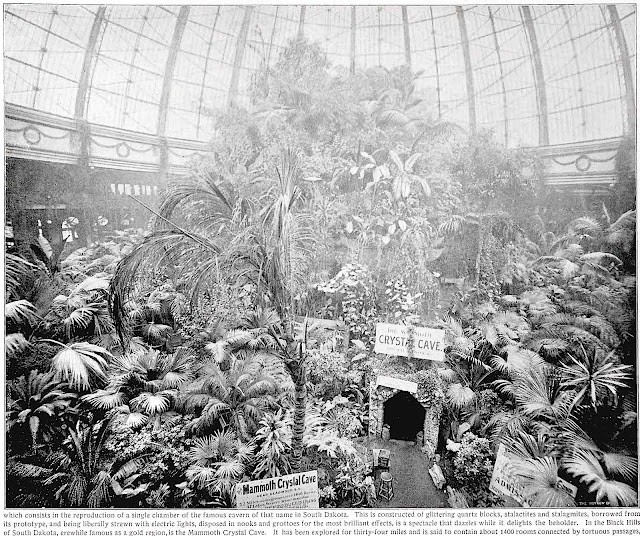 """the """"Crystal Cave"""" at the 1893 Chicago World's Fair, Glittering quartz blocks & electric lights"""