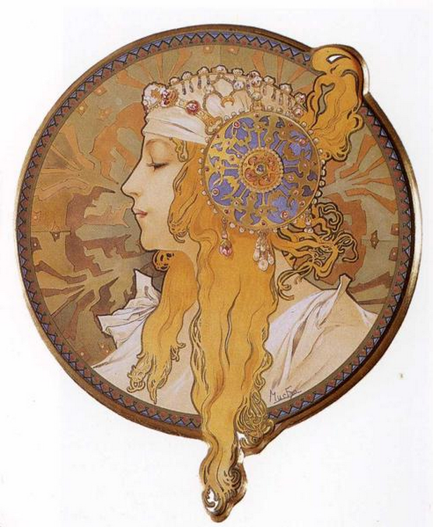 Byzantine Head, The Blond by Alphonse Mucha