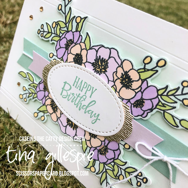 scissorspapercard, Stampin' Up!, CASEing The Catty, Peaceful Blooms, Bloom and Grow, Subtle 3DEF, Budding Blooms Dies, Stitched Shapes Dies, Stampin' Blends, Banners Pick A Punch, Champagne Foil