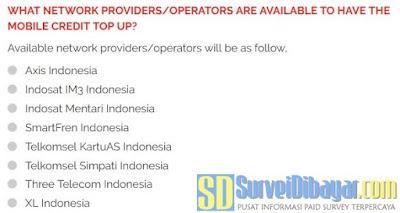 Operator seluler yang tersedia untuk penukaran poin YouGov dengan pulsa prabayar  | SurveiDibayar.com