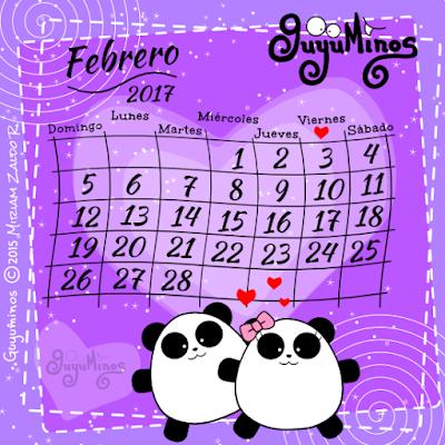 Calendario Febrero 2017 Guyuminos  Pareja de Pandas