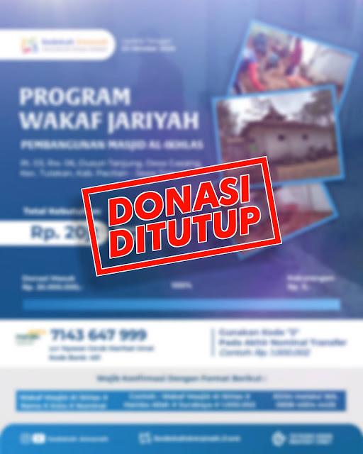 Donasi Masjid Al Ikhlas Ndero Gasang Pacitan